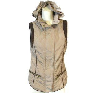 Zara Tan Brown Quilted Hooded Vest Small